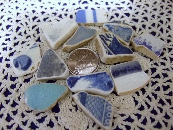 Blues Themed Vintage Ocean Tumbled Beach Sea Pottery Shards Mosaics Jewellery Newfoundland Shard Art