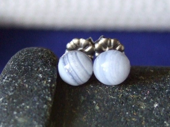 6mm Blue Lace Agate Delicate Baby Blue Titanium Studs Hypo Allergenic Made in Newfoundland Chakra