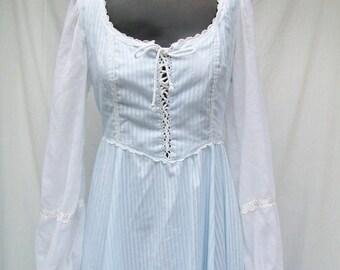 70s Blue Maxi Dress size Small GUNNE SAX Lace up Bodice Corset Style