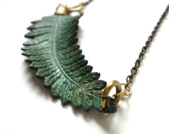 Fern Necklace, Verdigris, Green, Nature, Woodland Jewelry, Gardener, Naturalist