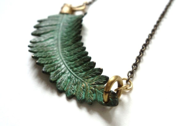 Fern Necklace, Verdigris, Green, Nature, Woodland Jewelry, Gardener, Naturalist