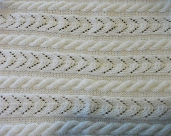 White Cable and Lace Baby Blanket
