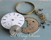 Vintage Pocket Watch Parts for use in Steampunk Jewelry by avintageobsession on etsy