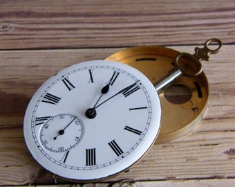 Antique Watch with Key for Steampunk Jewelry by avintageobsession on etsy