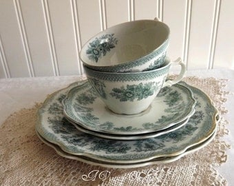 Antique Grindley Tea Cups, Saucers and Dessert Plates by avintageobsession on etsy