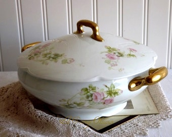 Vintage Royal Austria Porcelain Covered Casserole by avintageobsession on etsy