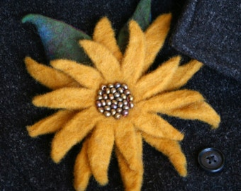 Hand Felted, Beaded Sunflower Pin