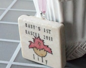 Baby's First Easter Ornament  - Personalized Gift - Baby Chick Hatching Design