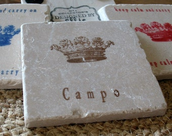 Personalized Royal Crown Absorbent Tile Coasters