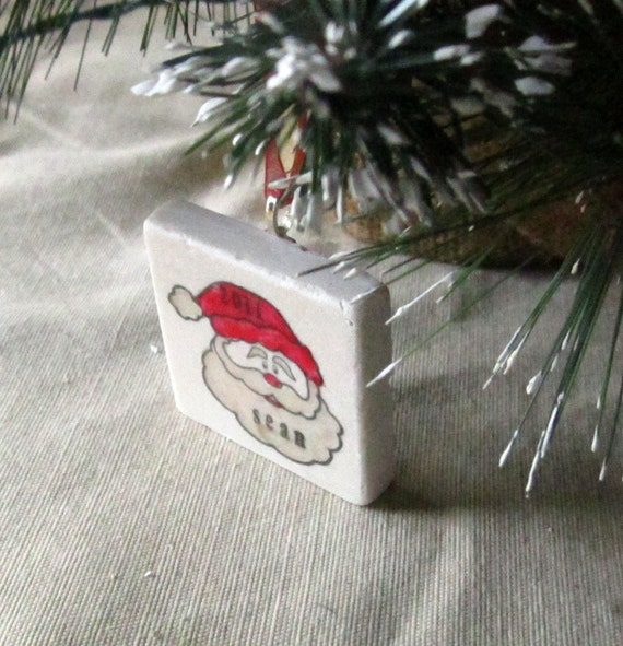 Personalized Santa Christmas Ornament - Kids Holiday Ornament - Gift Box