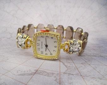 Beaded Stretchy Bracelet Watch - Smoky Quartz with Swarovski Crystal Accents
