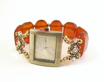 Beaded Stretchy Watch - Bold Carnelian Stone with Swarovski Crystal Accents