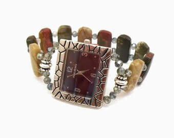 Bold Red Creek Jasper and Faceted Green Crystal Glass Stretchy Watch