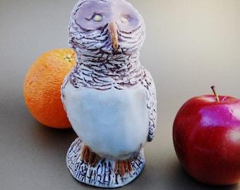 Sculpture Of An Owl On A Stump, Pottery Clay Owl, Hand Sculpted Owl, Owl Statue Ornament, Owl Decoration, Home Living Decor, Predator Bird