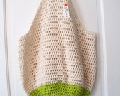 READY TO SHIP Crochet Beach Bag in Sand and Lime Green Oversize Crochet Cotton Tote Bag
