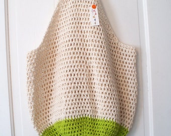 CLEAR OUT SALE Crochet Beach Bag in Sand and Lime Green Oversize Crochet Cotton Tote Bag