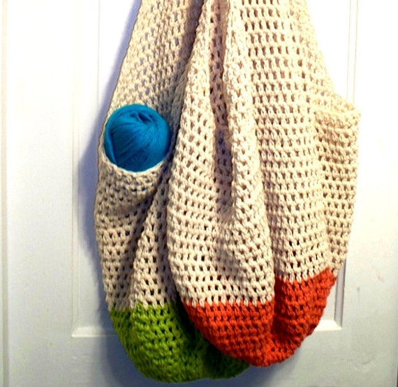 Crochet Beach Bag : Crochet Beach Bag Oversized Crochet Cotton Tote in Sand and Coral ...