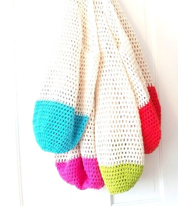 Crochet Beach Bag : Crochet Beach Bag in Your Color Choice Hot Pink, Lime Green, Bright ...