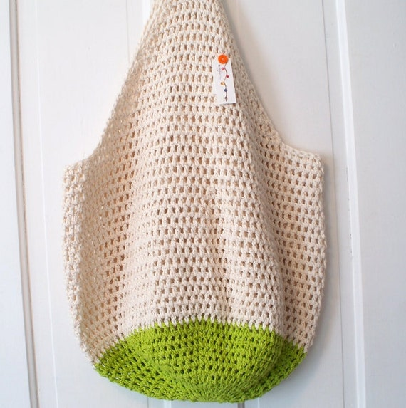 Crochet Patterns For Beach Bag : SALE Crochet Beach Bag in Sand and Lime Green by KnellyBean