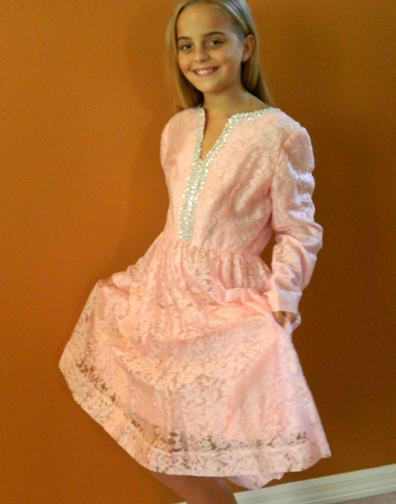 Pretty in Pink Lace Vintage Dress for Teens