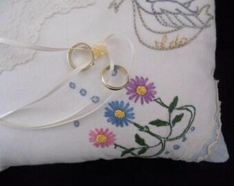 Ring Bearer Pillow, Vintage Linen, Embroidered Ring Bearer pillow, Birds and flowers wedding