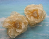 Seashell Shoe Clips - Elegant Shells - Seashell Organza Flower Shoe Clips
