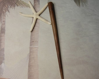 Starfish Hair Stick - Pencil Starfish Wooden Hair Stick