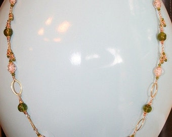 """Hand made fashionable 20"""" gold necklace with gold foil bead glass and glass piece at center"""