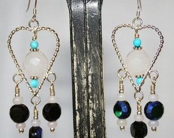 Hand made earrings Silver plated heart shape with Celestial crystal