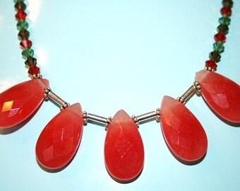 Hand made necklace with Swarovaski crystal and Carnilian teardrop shape