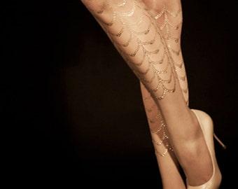 Gold tattoo, Cabaret, S-M, L-XL, gold tattoo tights/nylons/leggings/full lenght/sheer