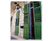 French Quarter Doors, Green Doors Photography, 8x10 print, New Orleans photography, architecture print, doorway, Mardi Gras green