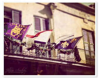 New Orleans Photography, Three Flags, French Quarter Louisiana Photograph, Mardi Gras, Purple Gold Green, Balcony, Architecture Photo