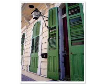 French Quarter Doors, Green Doors Photography, New Orleans photography, architecture print, doorway, Mardi Gras green, green door picture