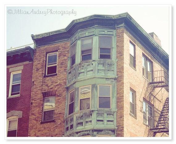 Boston Architecture Photography, Mint Buildings, fine art print, New England art, pastel windows, brick green, pale autumn, city picture