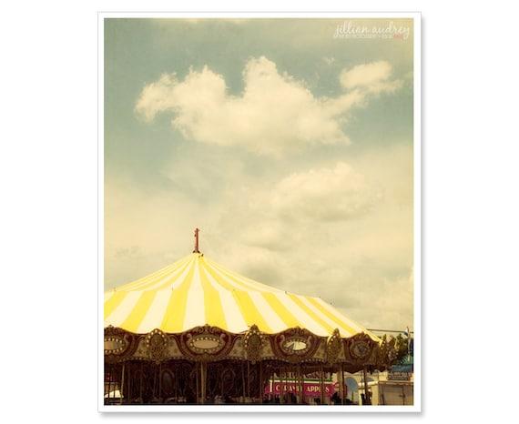 Yellow Carousel Photograph, Carnival Photography, Carnival Photograph, dreamy, yellow summer, whimsical photo, Nursery Art, Stripes