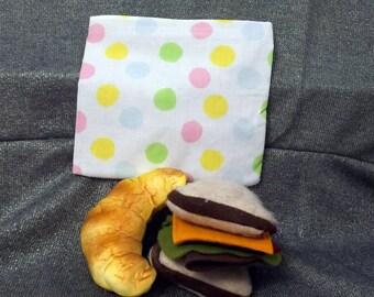 Reusable Sandwich Bag, Multicolor Dots on White Print