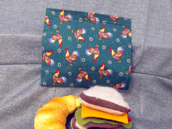 Reusable Sandwich Bag, Roosters on Green Print