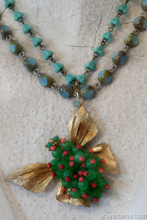 Funky, Arty, Beaded Butterfly Necklace.  Pink, Green and Turquoise -- preppy with a dash of tabasco, if you kwim.  Kay Adams.