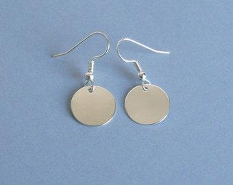Silver Flat Circle Earrings