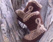 Baby Cowboy Boots - Cowboy Boots - Crochet Baby Booties - Crochet Cowboy - Brown - Baby Photography