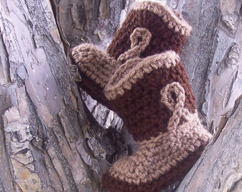 Crochet Baby Cowboy Boots, Cowboy Baby Boy Boots, Cowboy Baby Shower Gift, Tan and Brown Baby Boy Booties