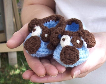 Baby Puppy Shoes - Puppy Booties - Crochet Baby Shoes - Baby Booties - Crochet Baby Booties - Puppy Baby Shower Gift
