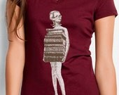 book tshirt - book shirt - womens tshirt - vintage tshirt - book lover - book gift - librarian gift - book worm - JUST BOOKS -burgundy vneck