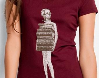 book tshirt - book shirt - womens tshirt - vintage tshirt - book lover - book gift - librarian gift - book worm - JUST BOOKS -burgundy vneck