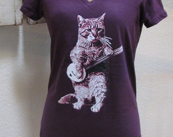 cat shirt - banjo shirt - cat tshirt - cat gifts - cat lover gift - cat lady - cat lover - music gift - womens tshirts-BANJO CAT-sport vneck