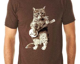banjo tshirt - cat tshirt - mens tshirt - cat shirt - banjo shirt - cat gifts - cat lover gift - cat lover - music gift -BANJO CAT-crew neck