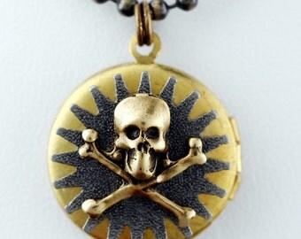 Skull Gear Locket --- Locket With Skull And Cross Bones And Gear - Double Sided Steampunk Locket Necklace