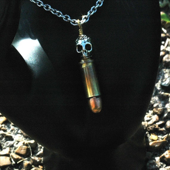 Silver Skull Bullet --- Antiqued Silver Skull With An Antiqued 25 Caliber Bullet Necklace - Unisex