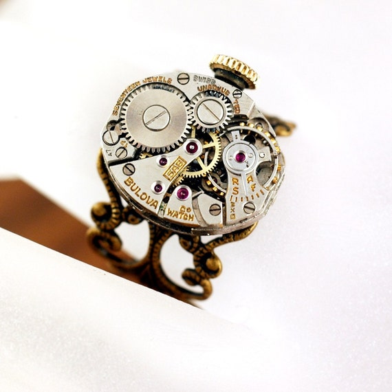 Timeless Elegance   ---   Adjustable Steampunk Repurposed Watch Movement Filigree Ring - UNISEX - Size 3 to 7